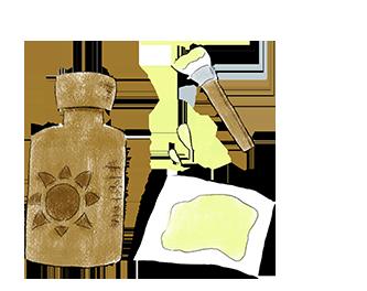 ①太陽の光に反応する薬液を紙や布に塗ります。