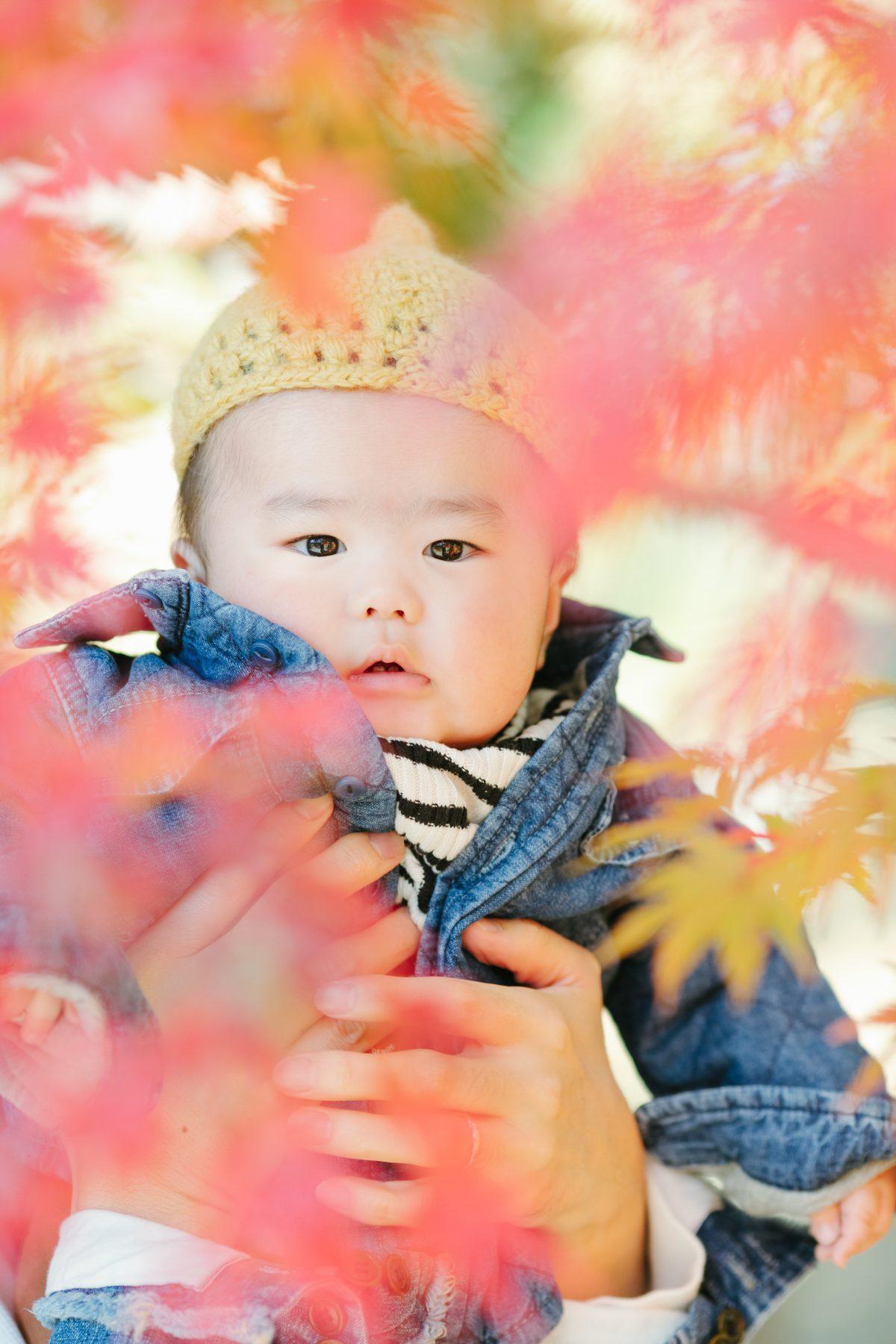 紅葉の中でハーフバースデー記念写真